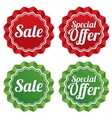 Special offer price tags templates set vector