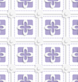 Purple squares and white flowers pattern vector