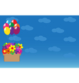 Balloons hanging basket with colorful flowers vector