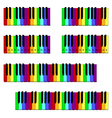 Colored piano keyboard set vector