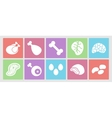 Flat icons set for web meat eggs offal and vector