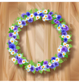 Flowers wreath greeting card on wooden background vector