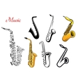 Cartoon saxophone music instruments vector