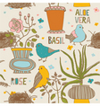 Birds and pot plants vector