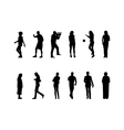 Many black silhouettes vector
