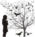 Girl and birds vector