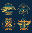 Longboard surfing retro emblem color vector