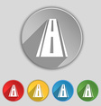 Road icon sign symbol on five flat buttons vector
