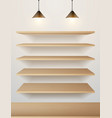 Wood shelf on wall vector