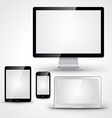 Computer display laptop tablet pc and mobile phone vector