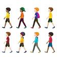 Faceless young men walking vector
