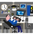 Man working at the computer vector