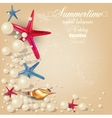 Vintage holiday banner with pearls and starfishes vector