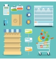 Supermarket food shopping internet concept vector