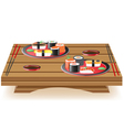 Sushi wooden table vector