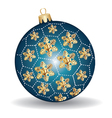 Christmas blue and gold ball vector
