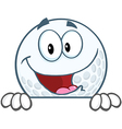 Smiling golf ball character over sign vector