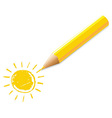 Yellow pencil with drawing vector