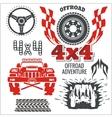 Off-road elements and emblem - set vector