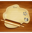 Dough rolling pin cookie cutters on the wood vector