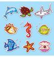 Sea life stickers vector