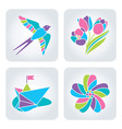 Spring mosaic icons vector