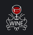 Logo glasses of wine on a black background vector