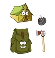 Set of cartoon camping and hiking icons vector