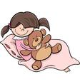 Girl with teddy cartoon vector