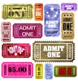 Set of vintage and modern ticket admit one eps 8 vector