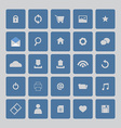 Blue website icons set vector