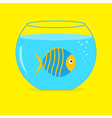 Blue fish in the aquarium card vector