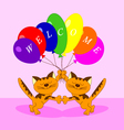 The cats with balloons vector