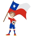 Happy soccer fan holds chile flag vector