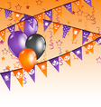 Hanging flags and balloons for halloween party vector