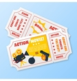 Action movie tickets set vector