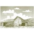 Woodcut barn yard vector