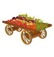 Wooden cart with harvest of vegetables vector