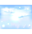 Horizontal sky with sun - blue abstract background vector