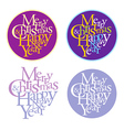 Merry christmas and happy new year logotype vector