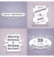 Christmas labels white set vector