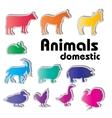 Domestic animals silhouettes vector