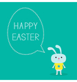 Easter bunny and dash line egg bubble card vector