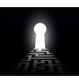 Dark labyrinth with exit to the keyhole vector