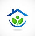 Eco garden house ecology people logo vector