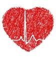 Heart scribble with heart beat eps 8 vector