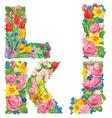 Alphabet of flowers ijkl vector