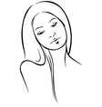 Beautiful woman - black outline vector