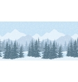 Seamless winter landscape with fir trees vector