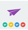 Paper airplane flat circle icon vector